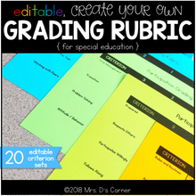Load image into Gallery viewer, Editable Grading Rubrics for Special Education