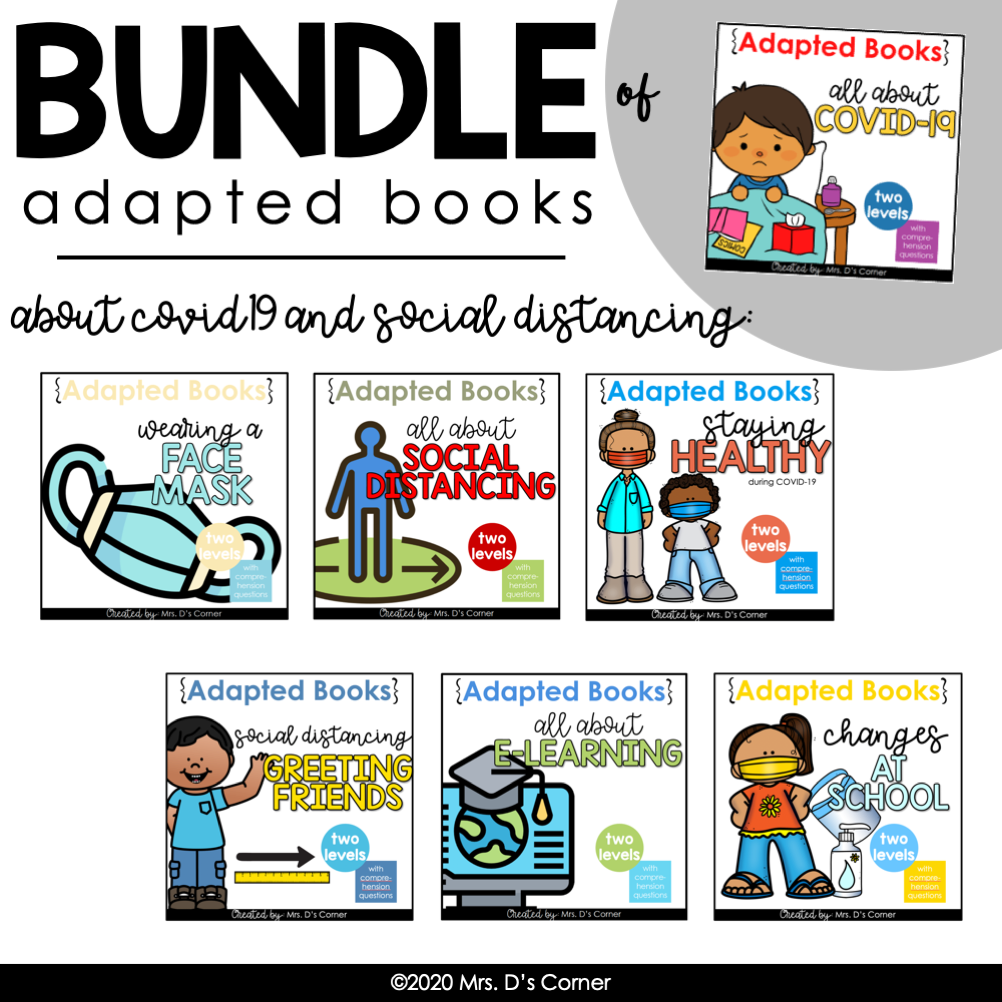 BUNDLE of Adapted Books for COVID-19 + Social Distancing [Level 1 and Level 2]