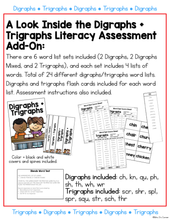 Load image into Gallery viewer, Digraphs and Trigraphs Word Lists Literacy Assessment ADD ON #3