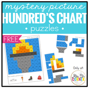 Mystery Picture Hundred's Chart Puzzles [3 for free!]