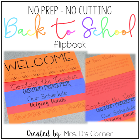 NO PREP Parent Handbook - NO CUTTING | Back to School Flip Book