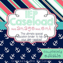 Load image into Gallery viewer, The Ultimate Special Education Binder | Pink Aqua Nautical [editable] IEP Binder