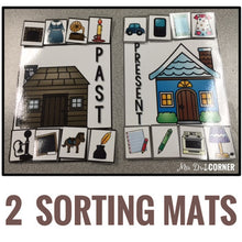 Load image into Gallery viewer, Past and Present Sorting Mats [2 mats!] for Students with Special Needs