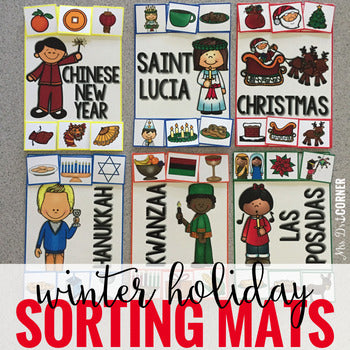 Winter Holiday Sorting Mats [6 mats!] for Students with Special Needs