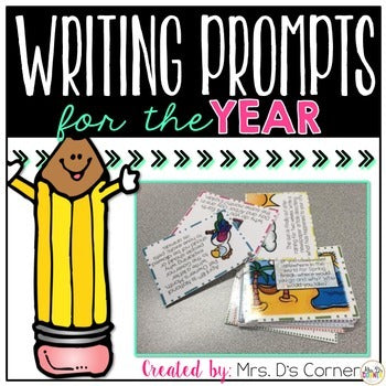 BUNDLE Writing Prompt Task Cards for the Year [500+ photo writing prompts]