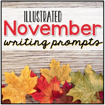November Photo Writing Prompt Task Cards | Writing Prompts for November
