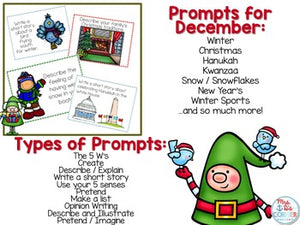 December Photo Writing Prompt Task Cards | Writing Prompts for December