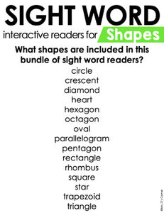 Shapes Interactive Sight Word Reader Bundle | Shape Activity Books