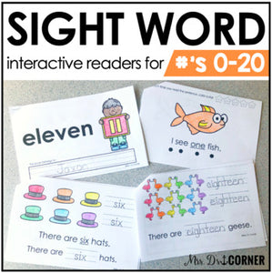 Numbers 0 to 20 Interactive Sight Word Reader Bundle | Number Activity Books