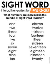 Load image into Gallery viewer, Numbers 0 to 20 Interactive Sight Word Reader Bundle | Number Activity Books