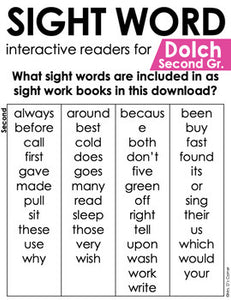 Second Grade Dolch Sight Word Books | Printable Dolch Sight Word Readers