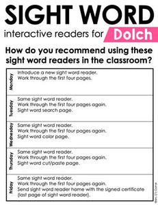 First Grade Dolch Sight Word Books | Printable Dolch Sight Word Readers