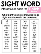 Load image into Gallery viewer, Primer Dolch Sight Word Books | Printable Dolch Sight Word Readers