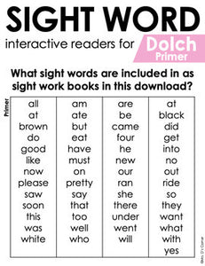 Primer Dolch Sight Word Books | Printable Dolch Sight Word Readers