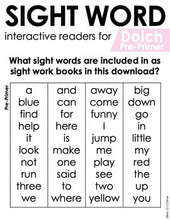 Load image into Gallery viewer, Pre-Primer Dolch Sight Word Books | Printable Dolch Sight Word Readers