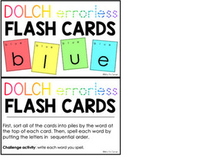 Dolch Errorless Flash Cards | Spelling Task Box for Dolch Words