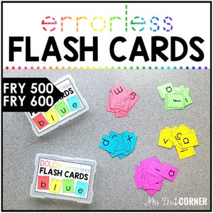 Fry 600 Errorless Flash Cards | Spelling Task Box for Fry Words | Fry 500 - 600
