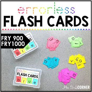 Fry 1000 Errorless Flash Cards | Spelling Task Box for Fry Words | Fry 900 -1000