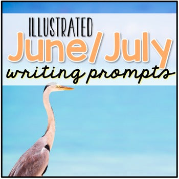 June and July Photo Writing Prompt Task Cards | Writing Prompts for June and July