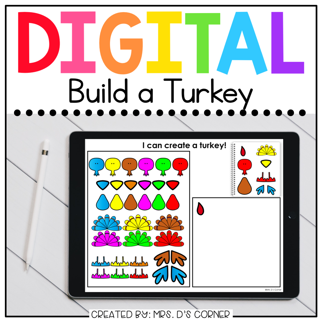 Digital Build a Turkey | Digital Activities for Special Ed + Distance Learning