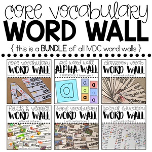 BUNDLE Special Education Word Wall with Core Vocabulary