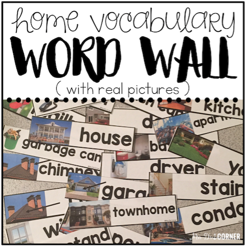Core Vocabulary Word Wall (Home Vocabulary - REAL pictures)