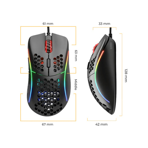 Glorious Model D Ergonomic Gaming Mouse Dimensions