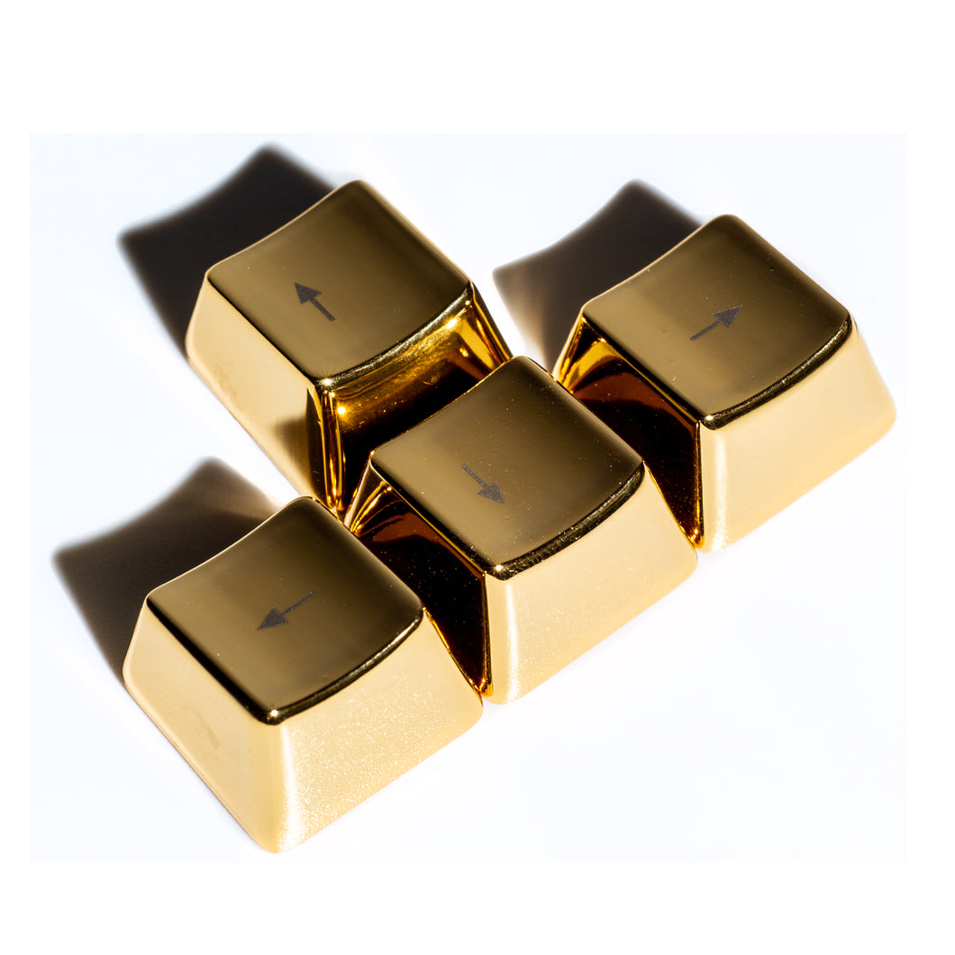 Metal Directional Arrows Keycaps - Gold