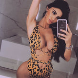 Leopard print hollow Bathing Suit