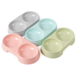 Candy Colored Plastic Double Bowls (1pc)