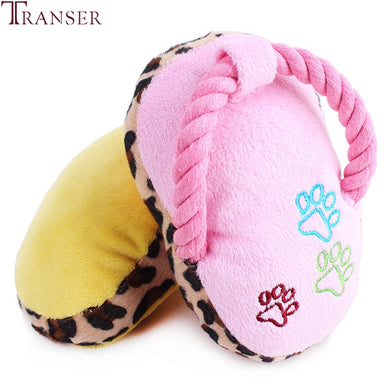 Leopard Print Squeaky Slipper / Chew Toy