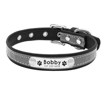 Load image into Gallery viewer, Reflective Personalized Leather Dog Collar For Small & Medium Sized Dogs