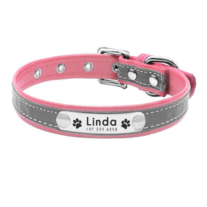 Reflective Personalized Leather Dog Collar For Small & Medium Sized Dogs