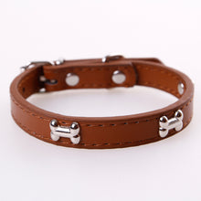 Load image into Gallery viewer, Bone / leather Durable Dog Collar