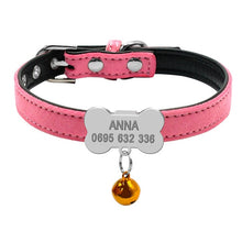 Load image into Gallery viewer, Personalized Engraved Nameplate Faux Leather Dog ID Tag Collar