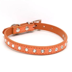 Bling Rhinestone PU Leather Dog Collar  (11 Colors)