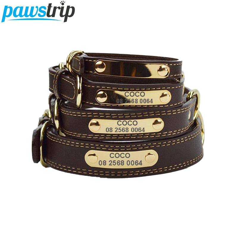Engraved ID Tag Leather Dog Collar