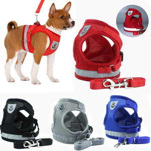 Breathable Reflective Nylon Dog Mesh Harness / Vest / Leash