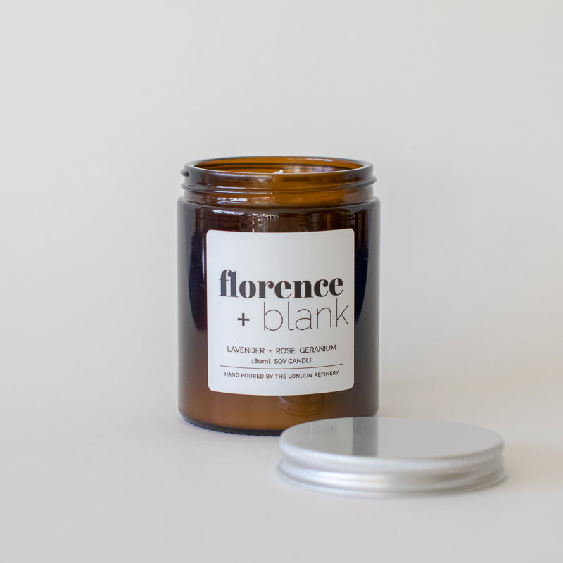 hand poured soy wax lavender and geranium scented candle in a glass jar by florence and blank