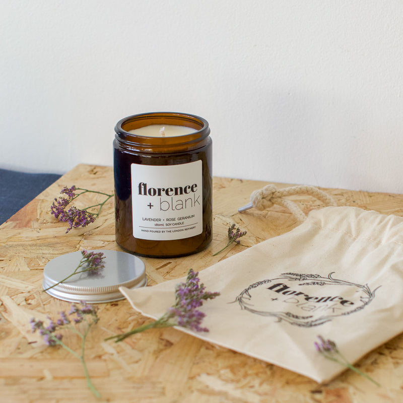 florence and blank hand poured soy wax lavender and geranium scented candle in a glass jar