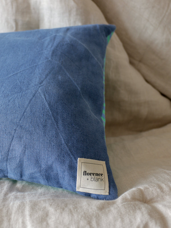 hand crafted cushion using repurposed striped fabric by florence and blank