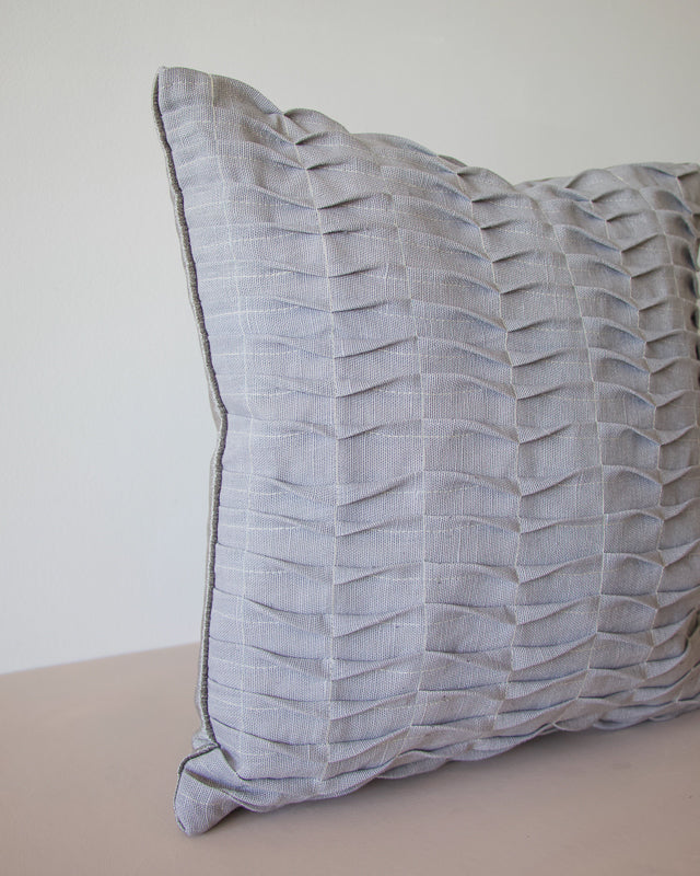 grey cushion made by hand with repurposed linen
