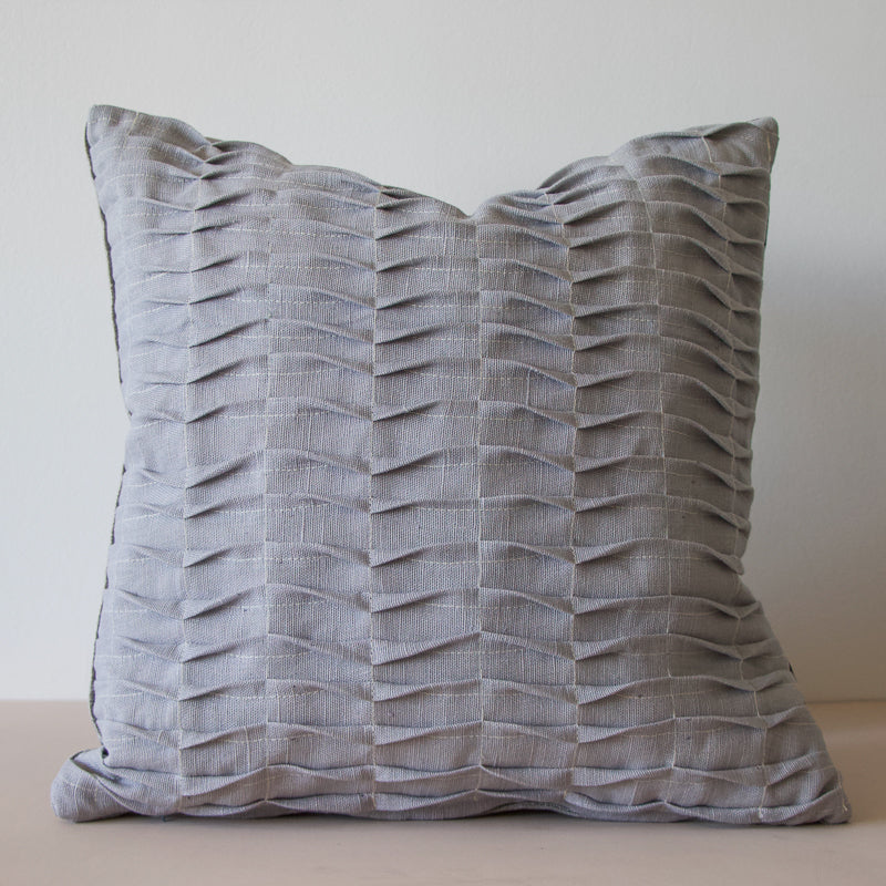 handmade grey cushion made with repurposed linen