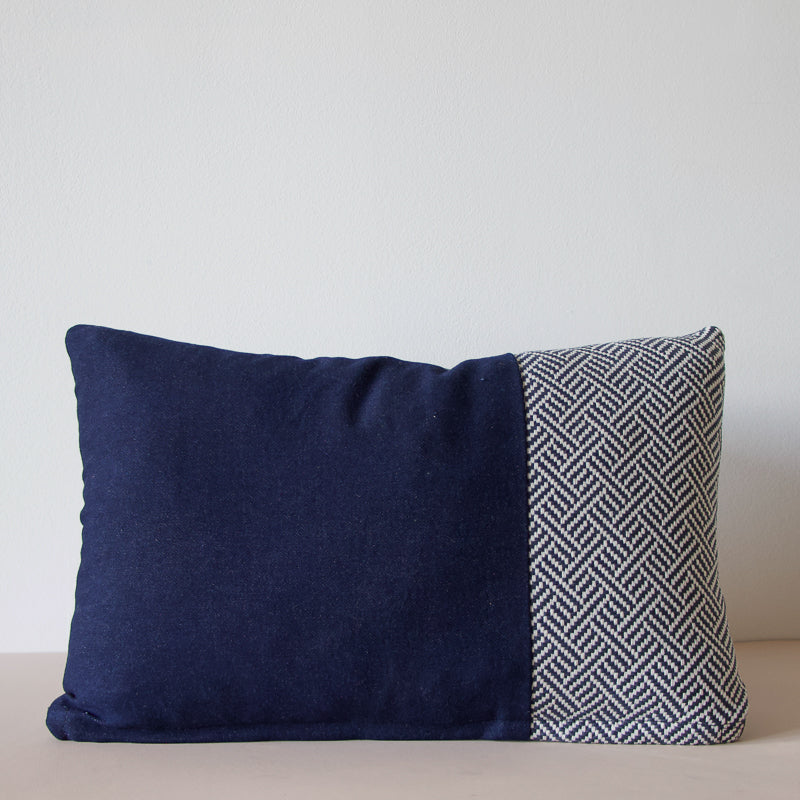 handmade navy cushion made with repurposed denim