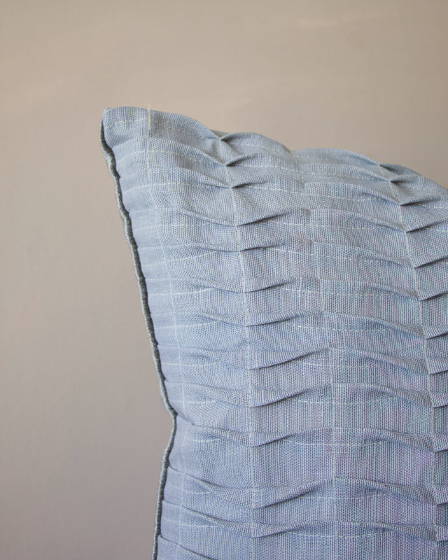 crafted grey cushion made with repurposed linen