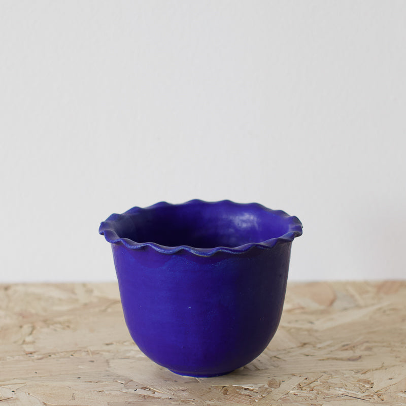 decorative bowl in an electric cobalt blue glaze by sophie eveleigh