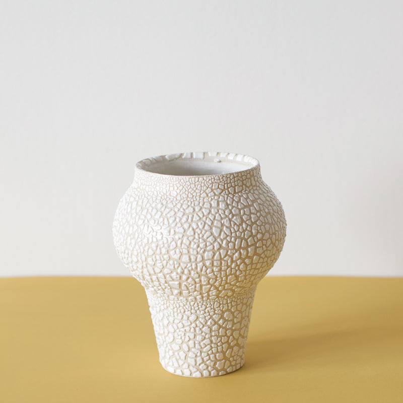 decorative vase with a white crackle glaze by sophie eveleigh