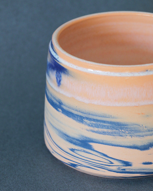 Peachy Blue Marble Pot