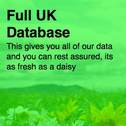 Full UK Database covering over 450,000 UK business records complete with business category and UK business email throughout