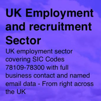 UK Employment and Recruitment Sector - Email and Business data